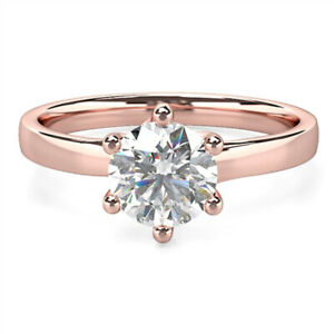 2.00 Ct Round Cut Moissanite Anniversary Wedding Ring 18K Solid Rose Gold Size 7