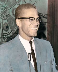 malcolm x 1964 african american muslim minister 8x10 hand color