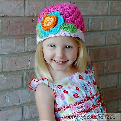 BonEful RTS NEW Boutique Crochet Knit Red White Flower Xmas Minnie Baby Girl Hat