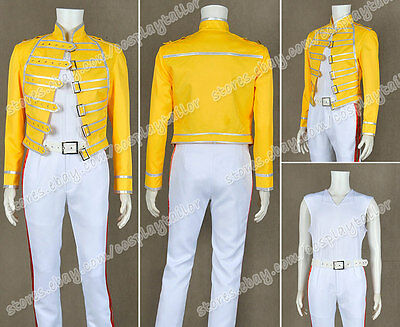 Queen Lead Vocals Freddie Mercury Cosplay costume queen band yellow outfit suit