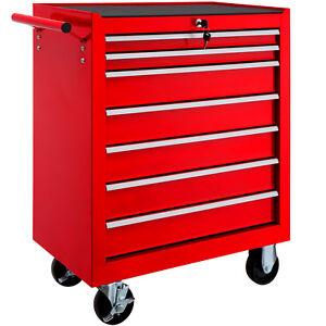 TecTake 402799 7 Cajones Carro para Herramientas - Rojo