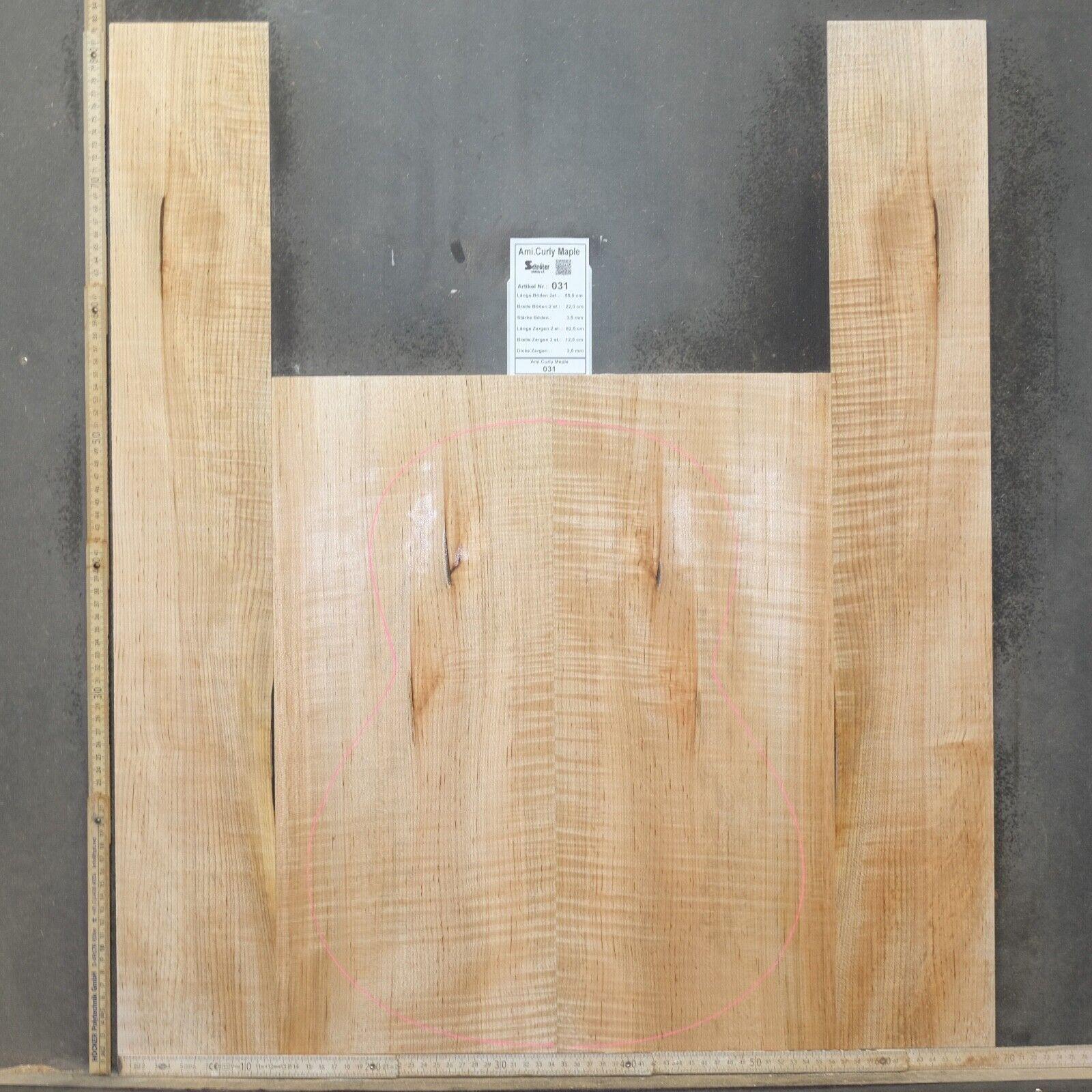 Tonewood Ami Curly Maple Maple Guitar Luthier Tonewood Acoustic Backs & Side 031