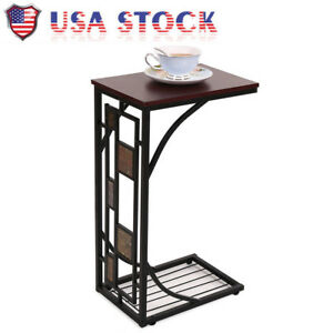 Image Is Loading C Shaped Side Sofa Snack Table Coffee Tray