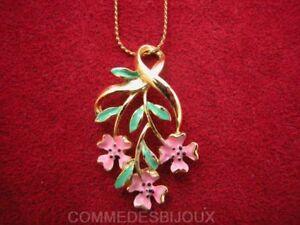 Collier-034-Trois-Fleurs-034-dore-N-1-Bouquet-Printemps-Ete-Bijoux-pur-Cadeau
