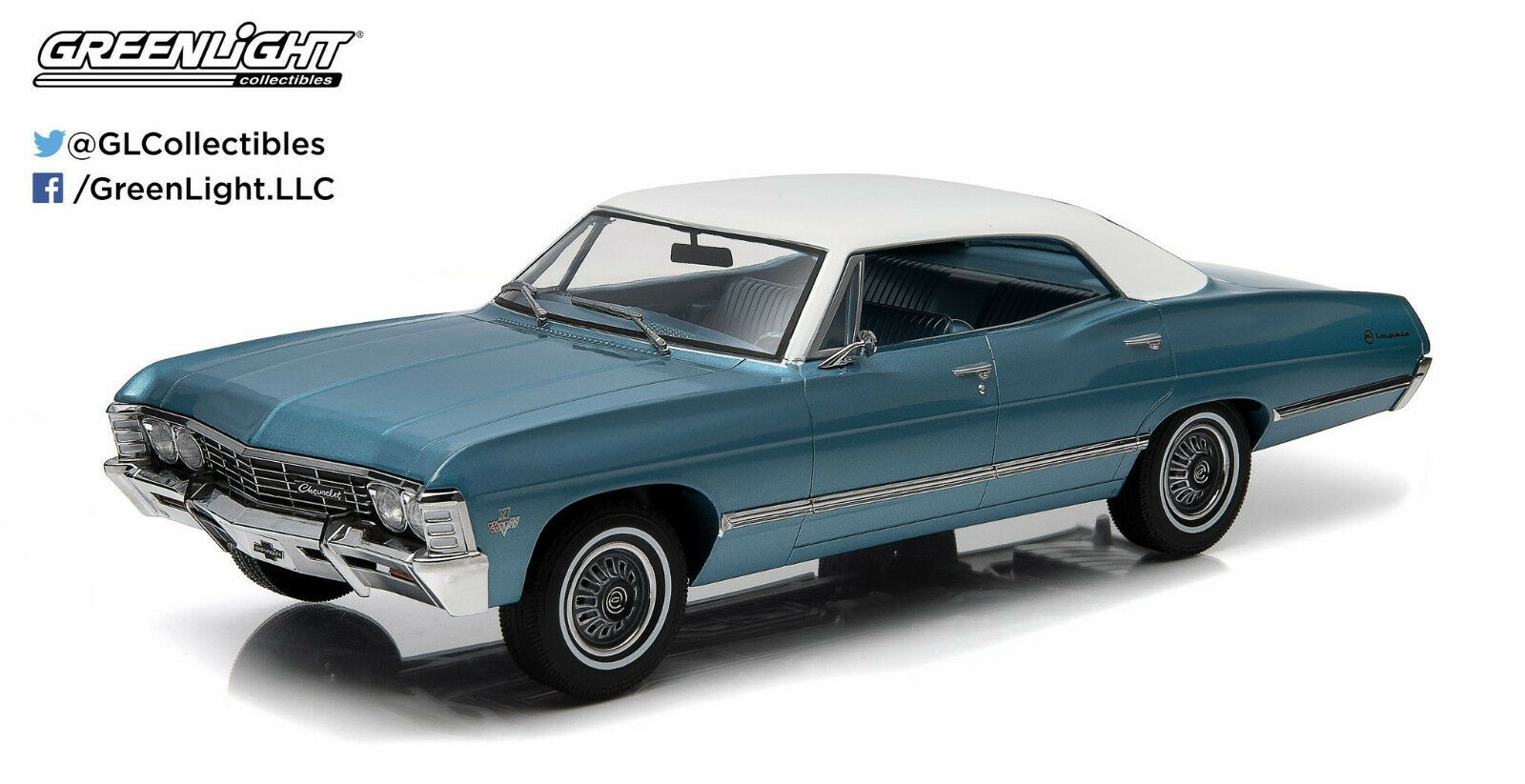 1967 Chevrolet Impala Sport Sedan 1 18 Greenlight 19008 blueE