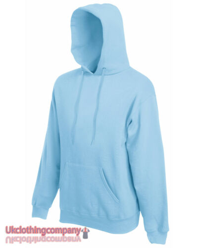 Sky Blue Adult Fruit of the Loom Plain Blank Hooded Sweatshirt Pullover Hoodie