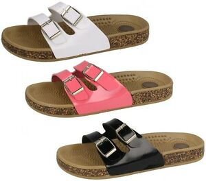 LADIES-WOMEN-SPOT-ON-BUCKLE-STRAP-SOFT-FLATBED-SUMMER-MULE-SANDALS-SIZE-F0809