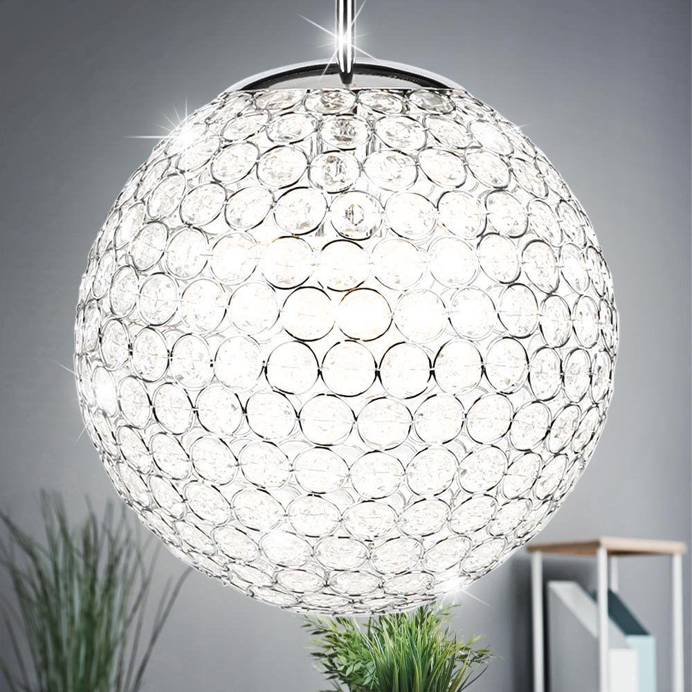 Suspension LED 10 watts lustre luminaire plafond lampe DEL boule cristaux clairs
