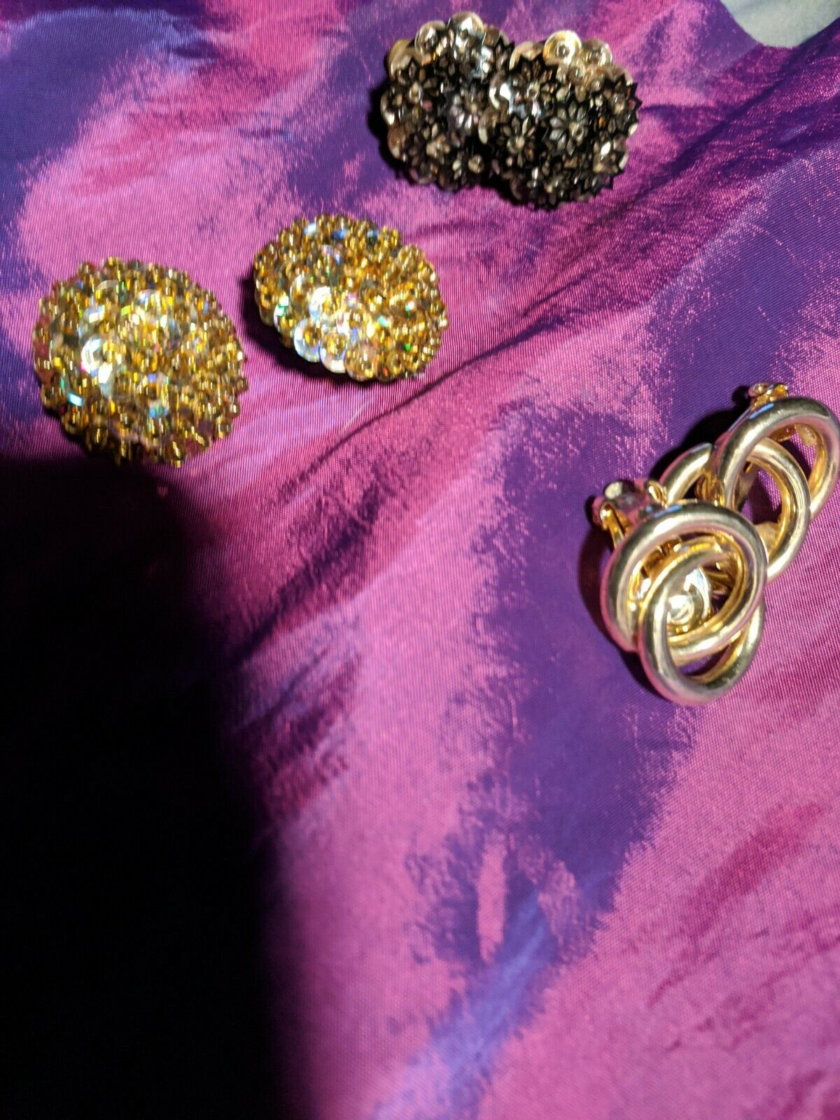 LARGE Vintage Clip Earrings 1-34 inches clear 1970/'s-1980/'s amber rhinestones-Organic Eccentric Shape Bronze with purple Lightweight