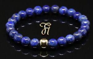 Lapislazuli-925er-sterling-Silber-vergoldet-Armband-Bracelet-Perlenarmband-blau