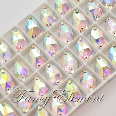 36pcs Glass 3230 10.5x18mm Clear AB Teardrop Crystal Sew On Rhinestone Flatback