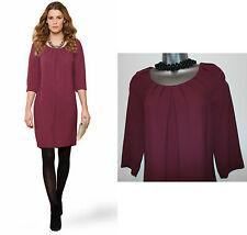 MONSOON Purple Plum Remy Knee Length 3/4 Sleeve Formal Casual Tunic Dress UK 8