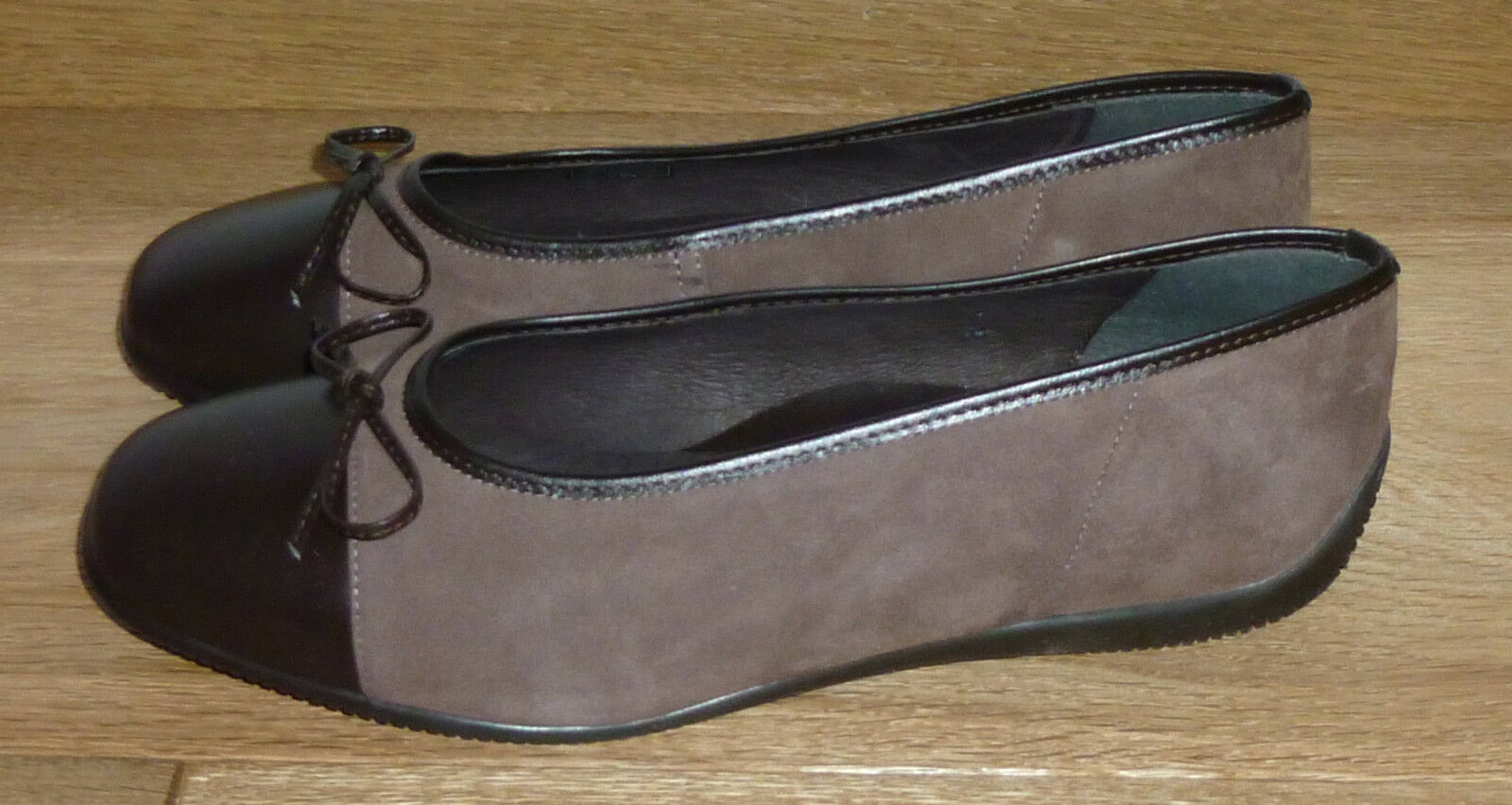 Ara Ballerines Slipper Cuir marron T 38 UK 5 US 6 Nouveau Neuf dans sa boîte