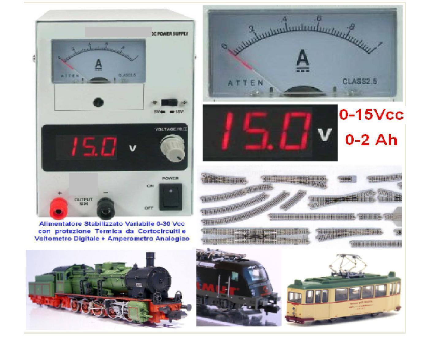 ALIMENTATORE LCD STABILIZZATO REGOLABILE da 0 a 15 Vcc 2A BINARI e TRENI HO-N--Z