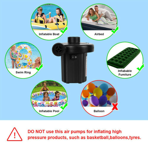 Electric Air Pump Inflator for Car Home Inflatables Camping Bed Pool 240V//12V UK