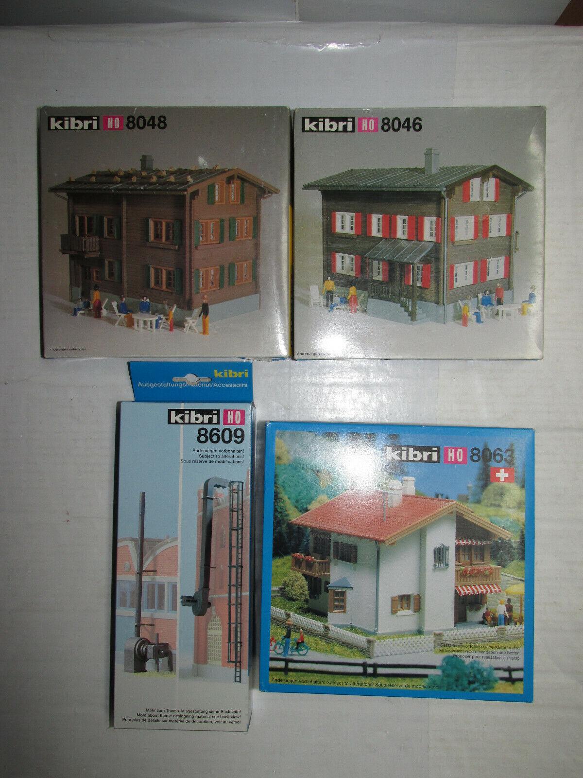Konvolut 4 Kibri Kits de para Casas de Ferrocarril Pista H0 8063 8046 8048 8609