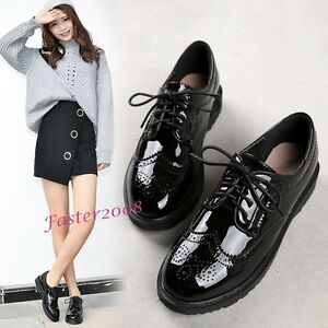Fashion-Women-039-s-Patent-Leather-Oxfords-Lace-Up-Flats-Casual-Brogue-Round-Shoes