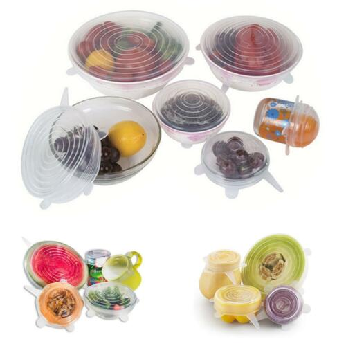 6x Stretch Reusable Silicone Bowl Wraps Food Saver Cover Seal Lids NSTA LIDS NEW