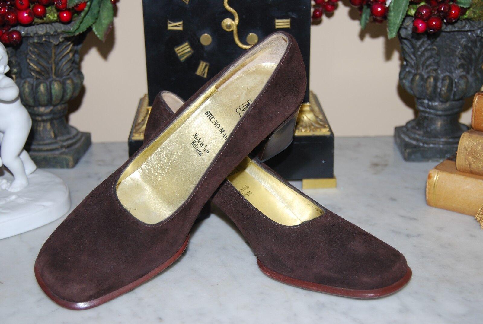 Bruno Magli Italie en Daim Marron Classique Femme Talon Bloc Pompe Chaussures Taille 5 1 2 B