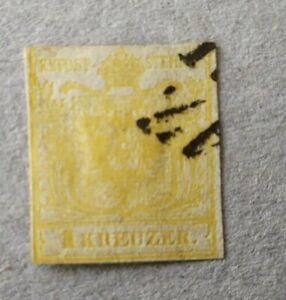 Osterreich-1850-Nr-1a-1-Kreuzer-gelb-gestempelt-o-Wz