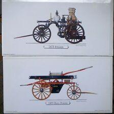 Graham F Wilmott antique fire engine prints- 1875 Steamer, 1899 Hand Pumper