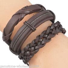 6PC//Set Men Brown Weave Adjustable Leather Bracelet Multilayer Woven 20cm-22cm