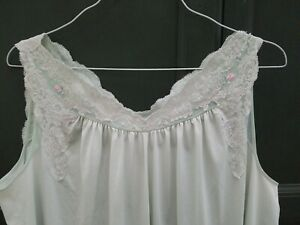 VINTAGE Shadowline SEA FOAM LONG NYLON EMBROIDERED NIGHTGOWN sleeveless lace