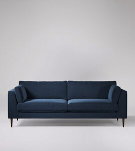 Swoon Nero Stylish Indigo Blue Birch Smart Wool Four Seater Sofa - RRP £1499