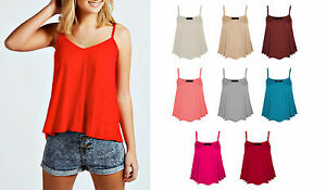 New-Womens-Sleeveless-Swing-Vest-Strappy-Ladies-Plain-Cami-Top-Size-8-10-12-14