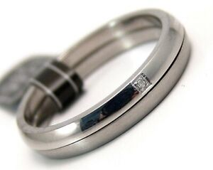 Genuine-Diamond-2-Piece-Wedding-Ring-Stainless-Surgical-Steel-Size-10-5