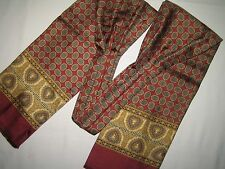 "Designer BURBERRYS LONDON blue YELLOW paisley red vtg mens ASCOT  54"" SILK SCARF"