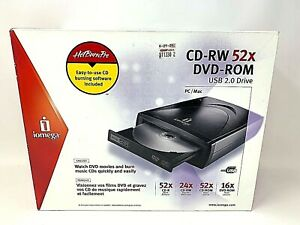 Iomega-CD-RW-52X-DVD-Rom-USB-2-0-Drive-PC-Mac-In-Box-Complete-Tested