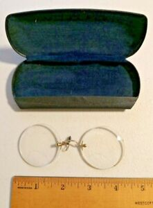 ANTIQUE-EYE-GLASSES-SPECTACLES-WITH-GOLD-NOSE-CLIP-395