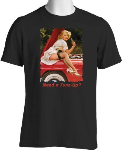 Cute Retro Pin Up Girl Hot Rod T Shirt Thunderbird Big and Tall