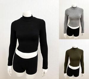 Women Basic Plain Ribbed High Neck Long Sleeve Stretch Crop Top Shirt RT62366
