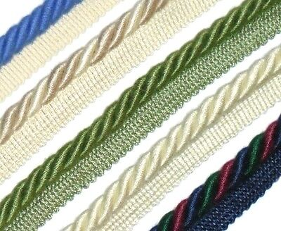 SILK//COTTON FLANGED BINDING//PIPING 9MM CORD X2 MTRS CHOOSE COLOUR ART 11.319//9