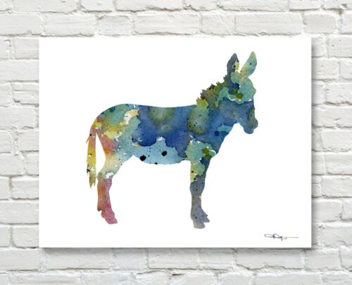 Abstract Blue Donkey Watercolor Painting Burro Art Print by Artist DJ Rogers