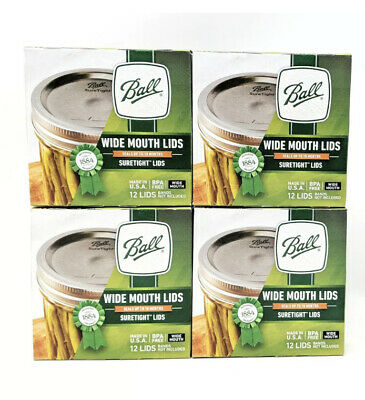 48 Ball//Kerr Wide Mouth Lids for Mason Jar Canning LOT OF 4 boxes WITH 12 Lids