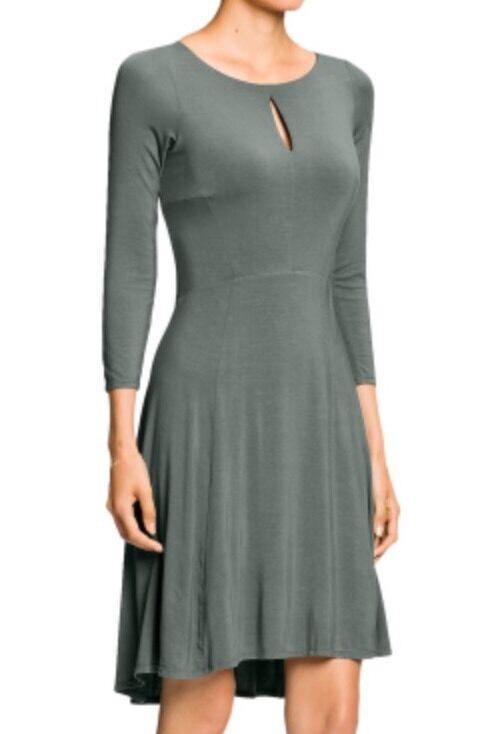 NWT     Nau Repose Slit Dress Stretch Micro modal   Basalt   Large
