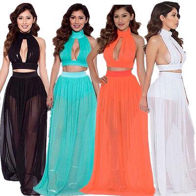 2 Piece Summer Beach Dress Chiffon Sexy Club Party Maxi Womens Fashion Dresses
