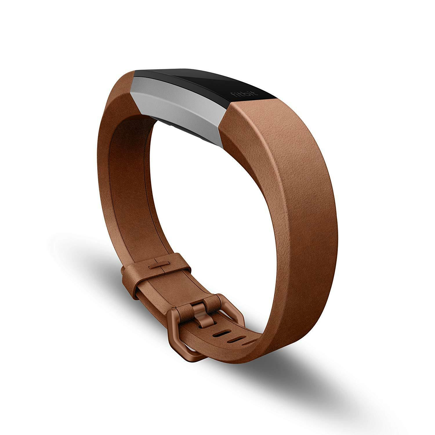 NEW GENUINE FitBit Alta HR Accessory Bracelet Replacement Band Brown Leather Lrg