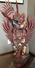 "Mid-Cent AMAZING  49"" Rare Hardwood HAND Carved POLYCROME  SIGNED  Garuda Bali"