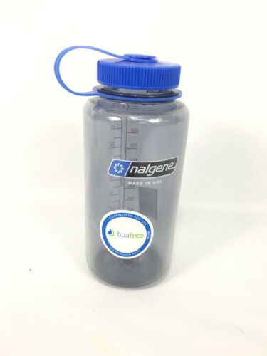 * Nalgene * Tritan Wide Mouth Water Bottle 32 oz BPA Free Gray//Blue NEW USA!