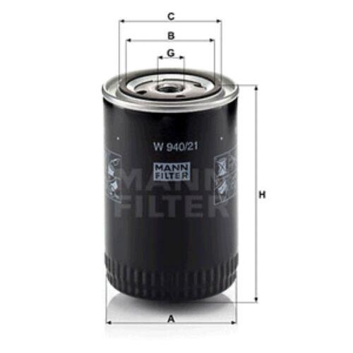 MANN W940//21 Filtre à huile Spin sur 142 mm hauteur 93 mm Diamètre extérieur service