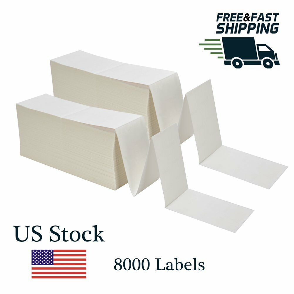 8000 Fanfold Direct Thermal Labels 4 x6  Shipping Barcode Labels Zebra 2844 UPS