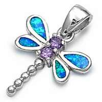 Dragonfly Australian Opal & Amethyst .925 Sterling Silver Pendant Free Ship on sale