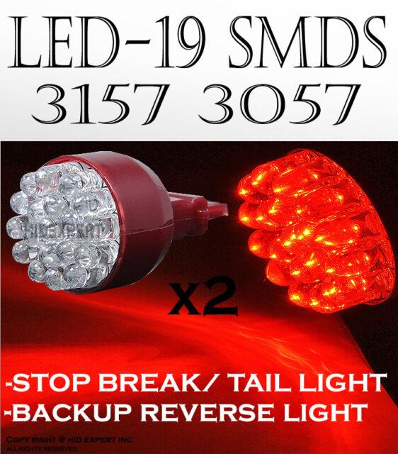 x2 4156 3157 19 SMDs LED Super Blue Fit Replace Brake Tail Light Bulbs Lamp B380