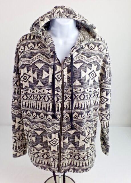 American Eagle Black White Aztec Print Long Sleeve Hooded Jacket Womens Sz Small