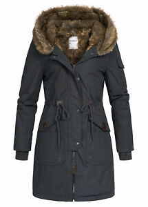 Details zu 60% OFF B18109056 Damen 77 Lifestyle Jacke Winter Mantel Kapuze Webpelz schwarz