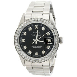 Mens-Rolex-36mm-DateJust-Diamond-Watch-Oyster-Steel-Band-Custom-Black-Dial-2-CT